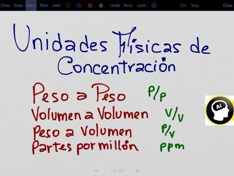 Unidades físicas de concentración, peso a peso, peso a volumen, partes por millón. - YouTube