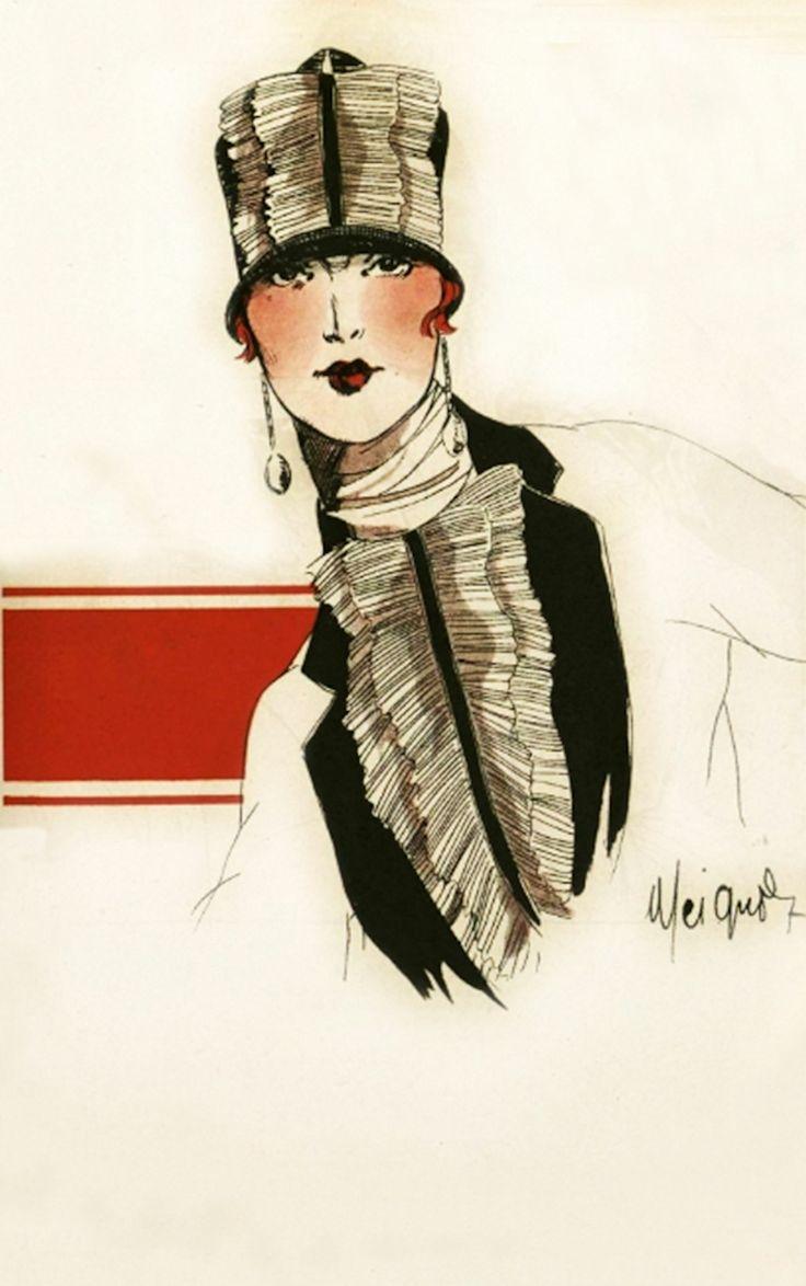 'Miss Arlette Marshall' in Jeanne Blanchot cloche hat - 1925 - Fashion illustration by Meignoz