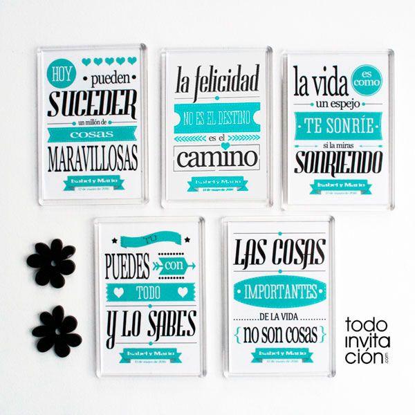 SET DE 25 IMANES FRASES BONITAS PARA BODAS, una idea para que cada día sea un poquito más mejor. Todoinvitacion.com