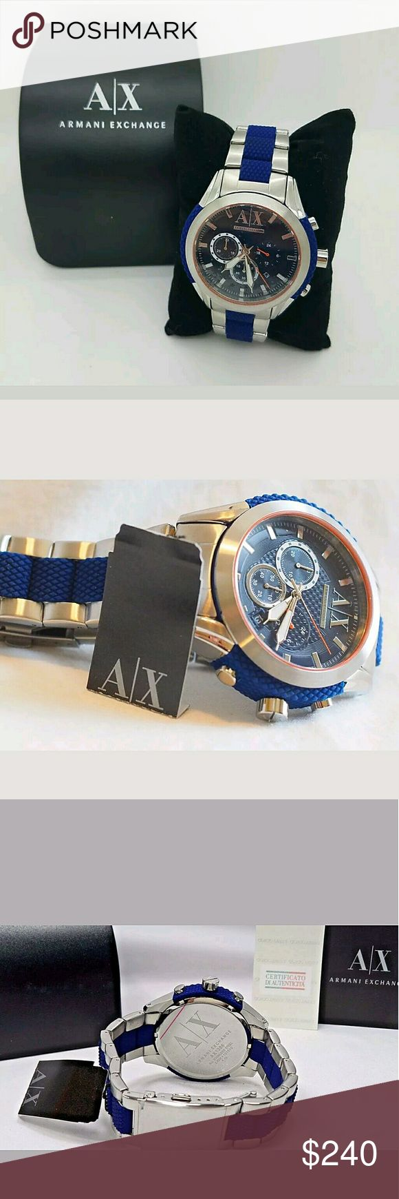 NWT Armani Exchange two-tone Men's watch NWT Armani Exchange Men Two Tone Metal Bracelet With Blue Analog Dial Watch.   Firm price firm price firm price  240.00 . AUTHENTIC WATCH  . AUTHENTIC BOX  . AUTHENTIC MANUAL    SHIPPING  PLEASE ALLOW FEW BUSINESS DAYS FOR ME TO SHIPPED IT OFF.I HAVE TO GET IT FROM MY STORE.    THANK YOU FOR YOUR UNDERSTANDING. Armani Exchange  Accessories Watches