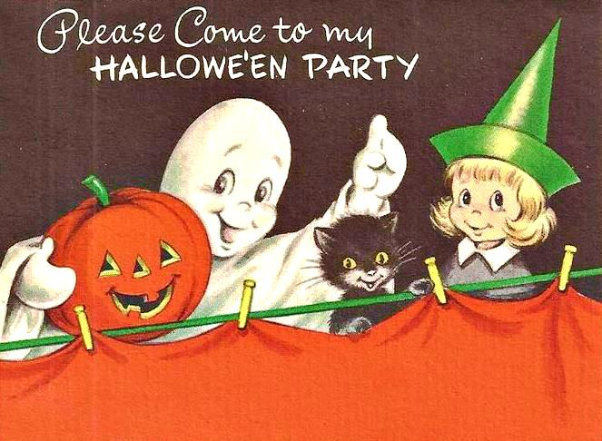 Vintage Halloween Invitation W Envelope Cute Ghost Witch Kitty Mint