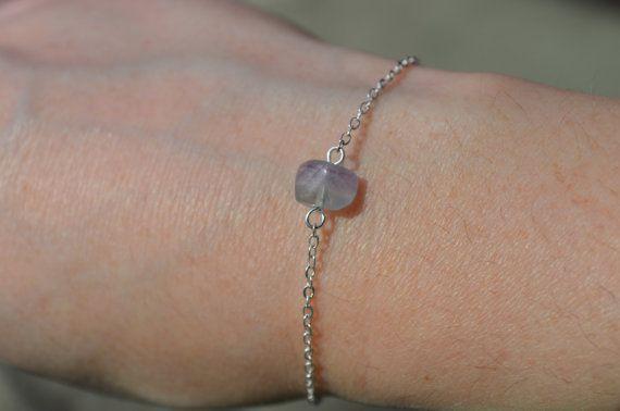 Fluorite Bracelet Dainty Silver Chain Bracelet Birthstone Jewelry Crystal…