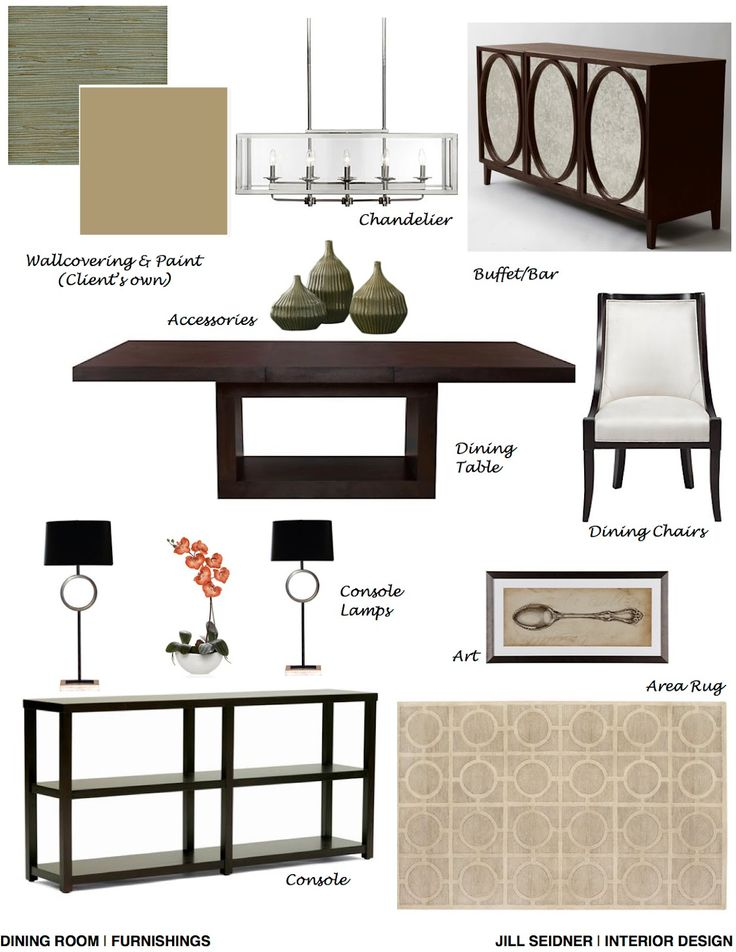 Katy TX Online Design Project Dining Room Furnishings Concept Board