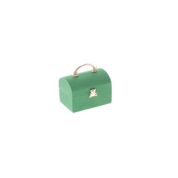Estuche anillo modelo cofre verde con apliques dorados