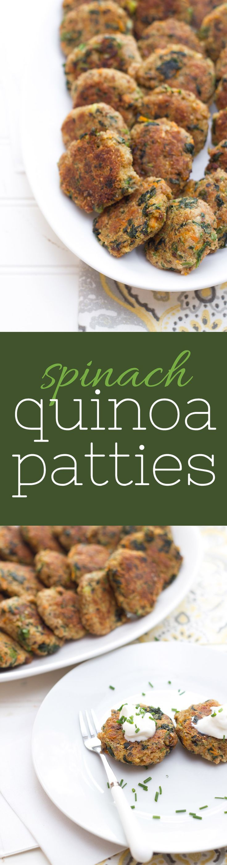 Showcase the power of two vegetarian superfoods in these spinach and quinoa patties. Perfect for snacks, lunches or dinner! #spinach #quinoa