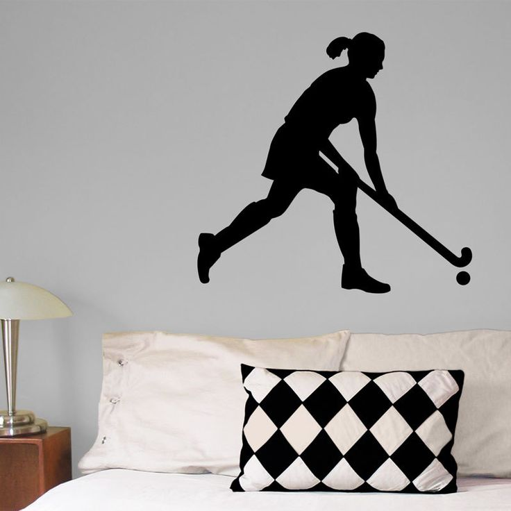 Field Hockey with Skirt Wall Décor. Offered in attractive colors, this field hockey girl rules the field and won't damage your walls.