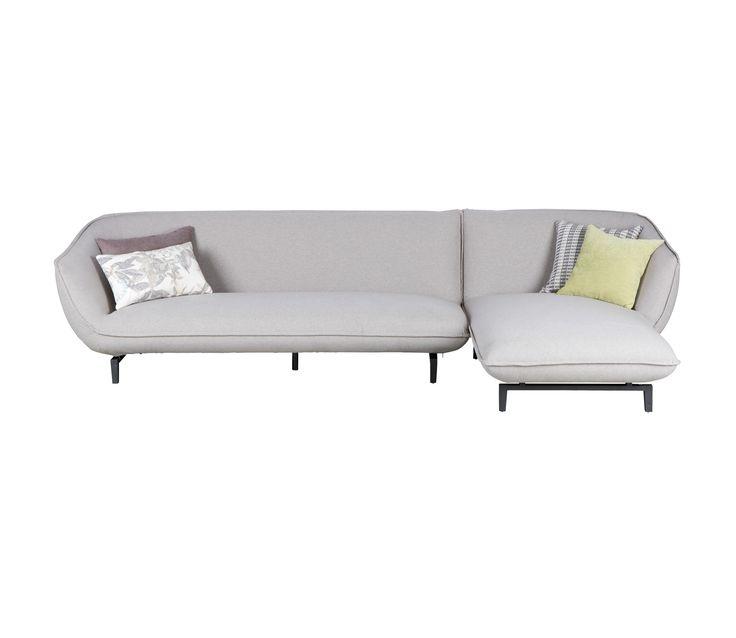 Basiclabel Bow 3-zits bank met chaise longue links of rechts grijs - Rechteruitvoering