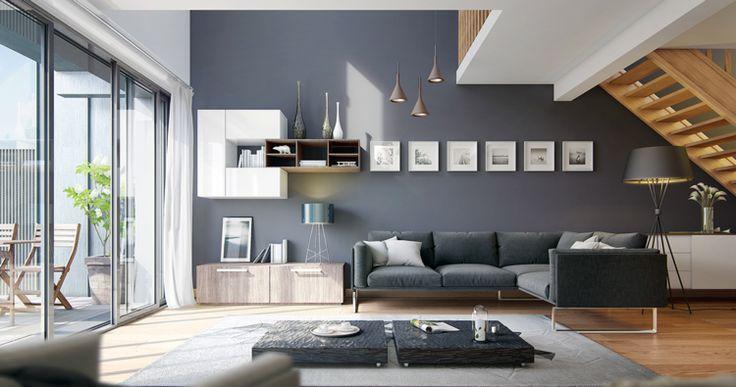 wohnzimmer modern wand grau teppich sideboard fenster treppe ... - Interior Design Wohnzimmer Modern