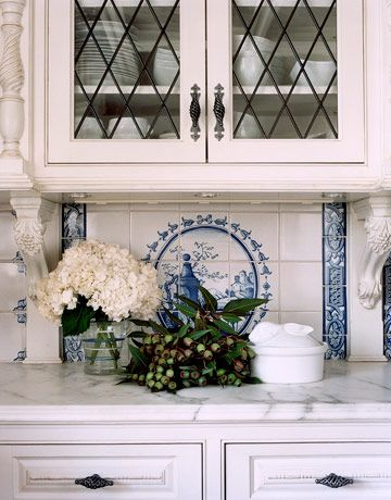 : White Tile, Beautiful Blue, Tile Patterns, Country Blue, French Blue, Leaded Glasses, Inspiration Girls, White Kitchens, Blue And White