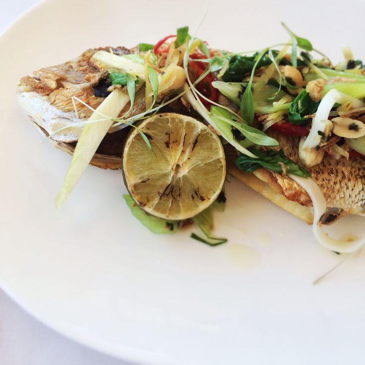 Lunch out - thai inspired grilled snapper with vegetables and peanuts