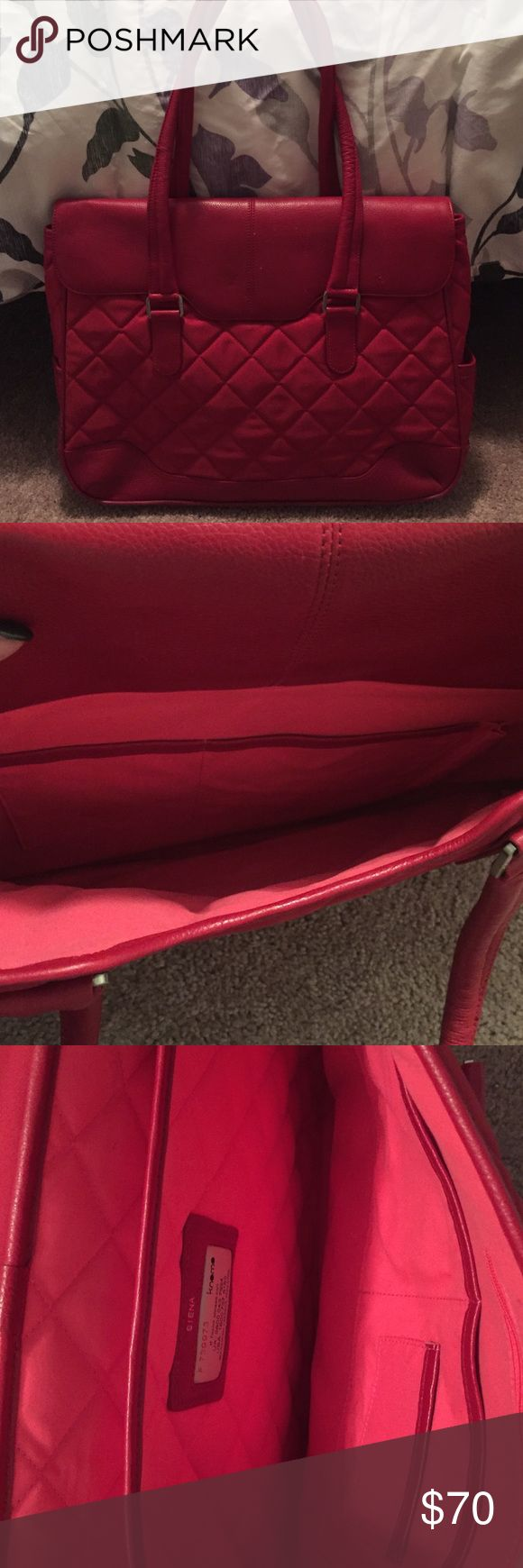 """Knomo women's work bag Great work bag. Padding to hold up to a 15.6"""" laptop. Real leather with quilted fabric. Back magnet pocket. At the top my cat got to it, soon in last picture. 17x14x4 --- straps 14"""" long. knomo Bags Laptop Bags"""