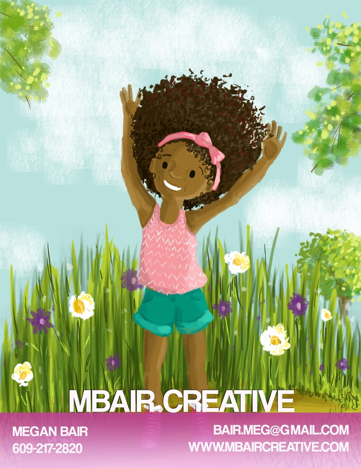 Children's book illustration, painting, digital, african american girl. Big Hair. Purchase the book here: http://www.amazon.com/dp/1939509025/ref=cm_sw_su_dp