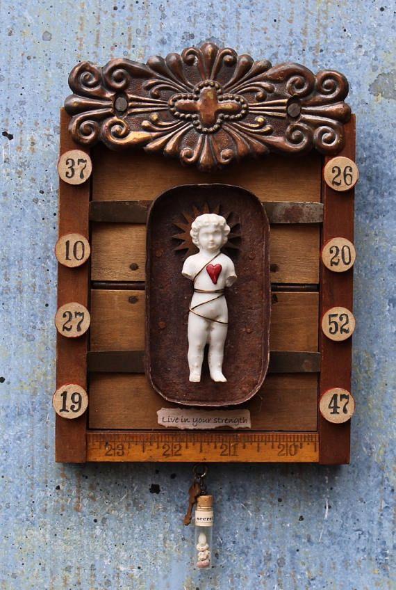 Assemblage Art Shrine Found Object Mixed Media Vignette