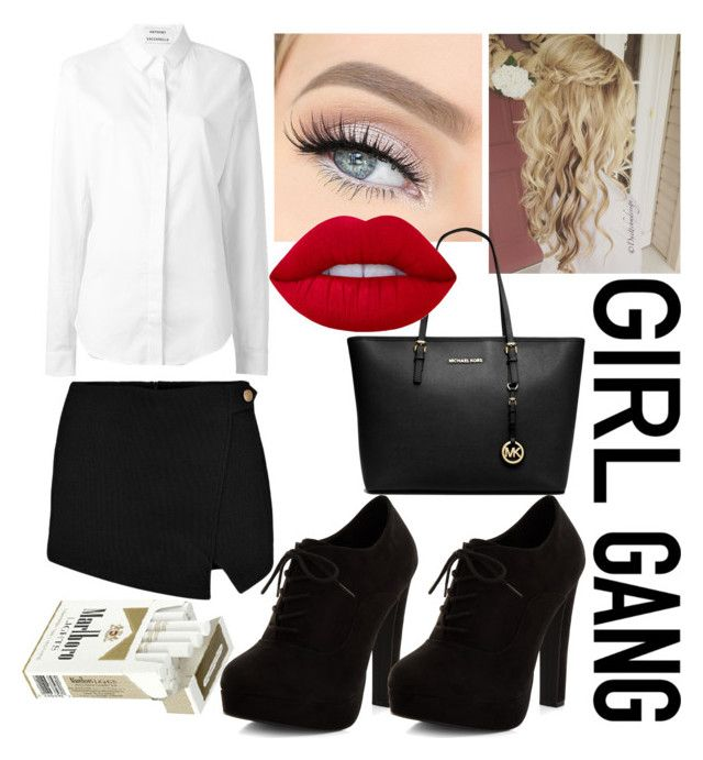 Queen of school by slytheriner on Polyvore featuring Anthony Vaccarello, Boohoo, New Look, Michael Kors and Lime Crime