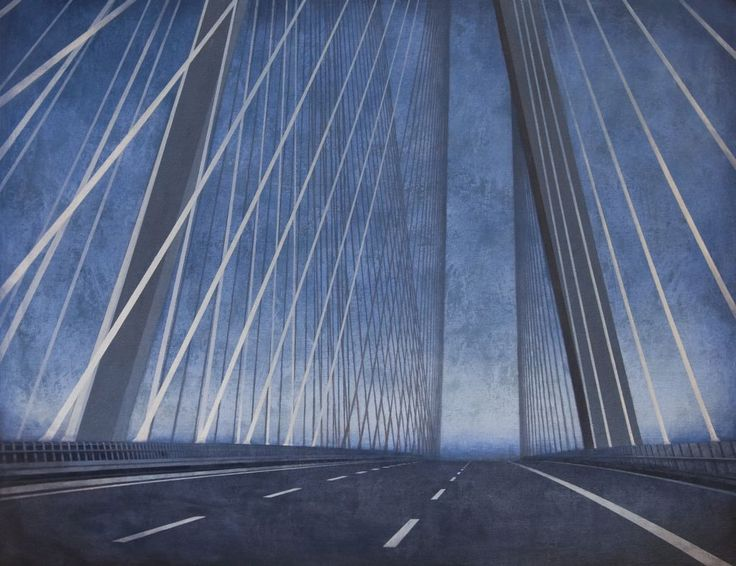 Palys Joanna, Bridge - Change II, acrylic on canvas, modern architecture, Wroclaw, wroclaw's bridge, bridge, architecture on paitning, modern art, polish art, landscape, modern landscape