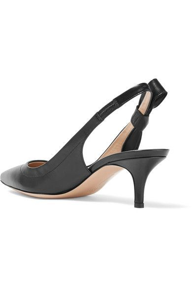 Gianvito Rossi - Bow-embellished Leather Slingback Pumps - Black - IT40.5