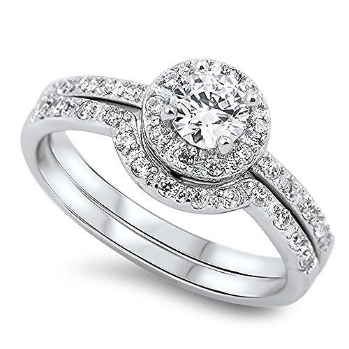 Sterling Silver Engagement Ring Round Halo Setting Wedding Ring Set 10MM ( Size 5 to 10)