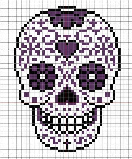 Sugar skull pattern for Perler beads or cross stitch.