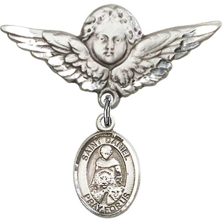 Sterling Silver Baby Badge with St. Daniel Charm and Angel w/Wings Badge Pin 1 1/8 X 1 1/8 inches *** Read more reviews of the product by visiting the link on the image. (This is an Amazon Affiliate link and I receive a commission for the sales)