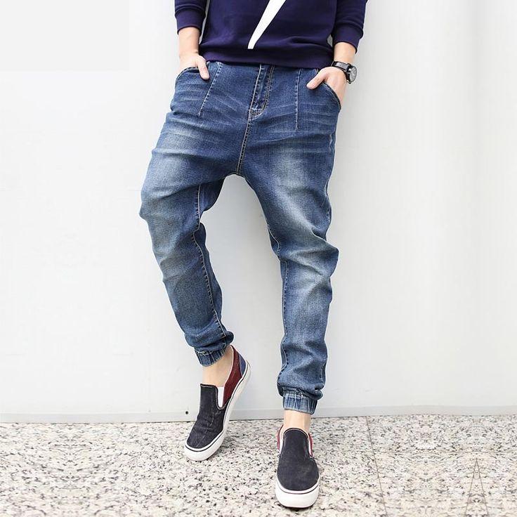 (29.23$)  Watch more here  - Fashion 2016 New Plus Size Harem jeans Men Taper Jeans Men Joggers Casual Hip hop Elastic Beam Legging Pants Pencil Jeans Calca