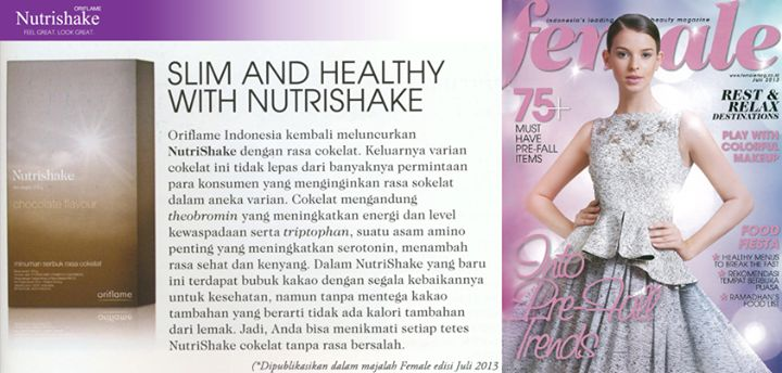 NUTRISHAKE Oriflame @majalah majalah majalah Female. Feel Great Look Great!