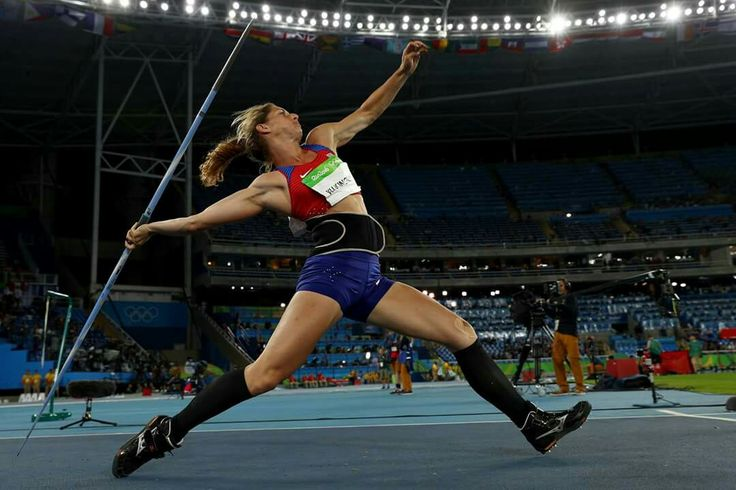 RIO DE JANEIRO, BRAZIL - AUGUST 13: Eliska Klucinova of the Czech Republic competes in the Women's Heptathlon Javelin Throw on Day 8 of the Rio 2016 Olympic Games at the Olympic Stadium on August 13, 2016 in Rio de Janeiro, Brazil. (Photo by Ian Walton/Getty Images) — in Rio de Janeiro, Brazil.