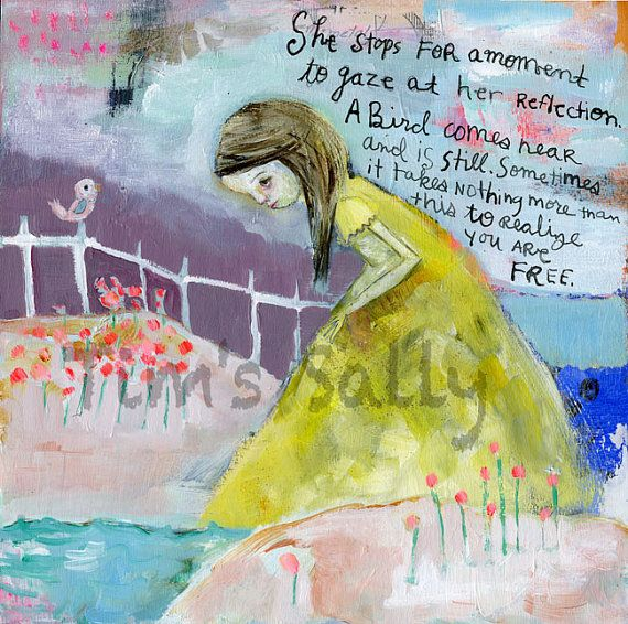 Gorgeous. :: poem, girl - REFLECTION - mixed media art print by Mindy Lacefield