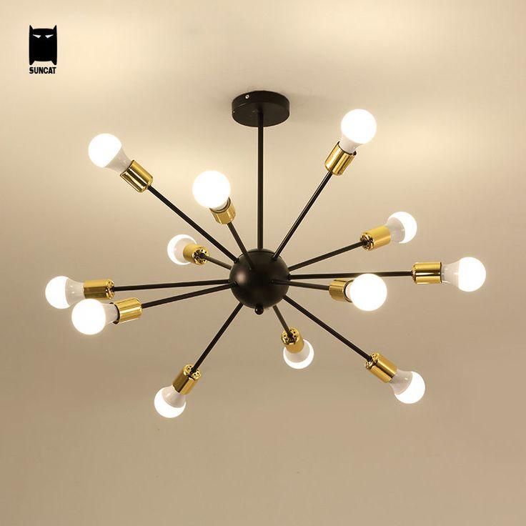 Branch Iron Chandelier Ceiling Light Fixture Modern Pendant Lamp Living Room Soleilchat