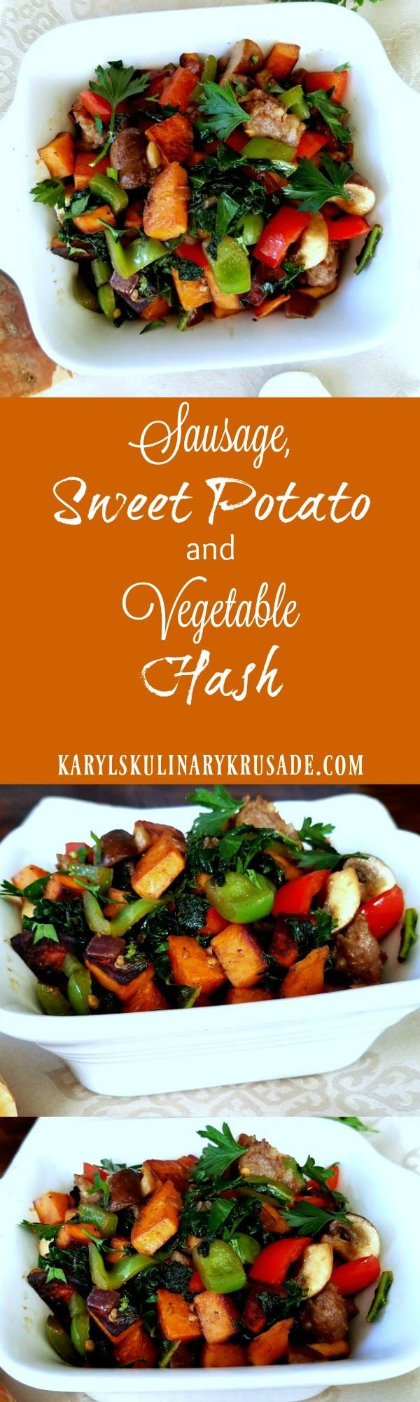 Sausage, Sweet Potato and Vegetable Hash is a hearty, filling, and delicious dish that still helps you eat a little cleaner. Sauteed sweet potatoes and bright bell peppers are such a great mix with spicy Italian Sausage.