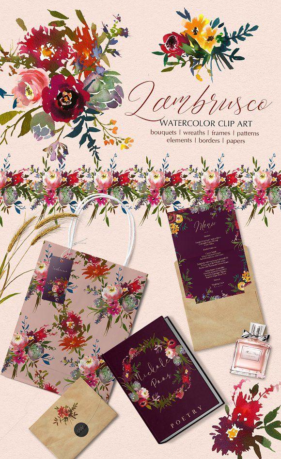 Bordo Watercolor Floral Clip Art Set - Illustrations
