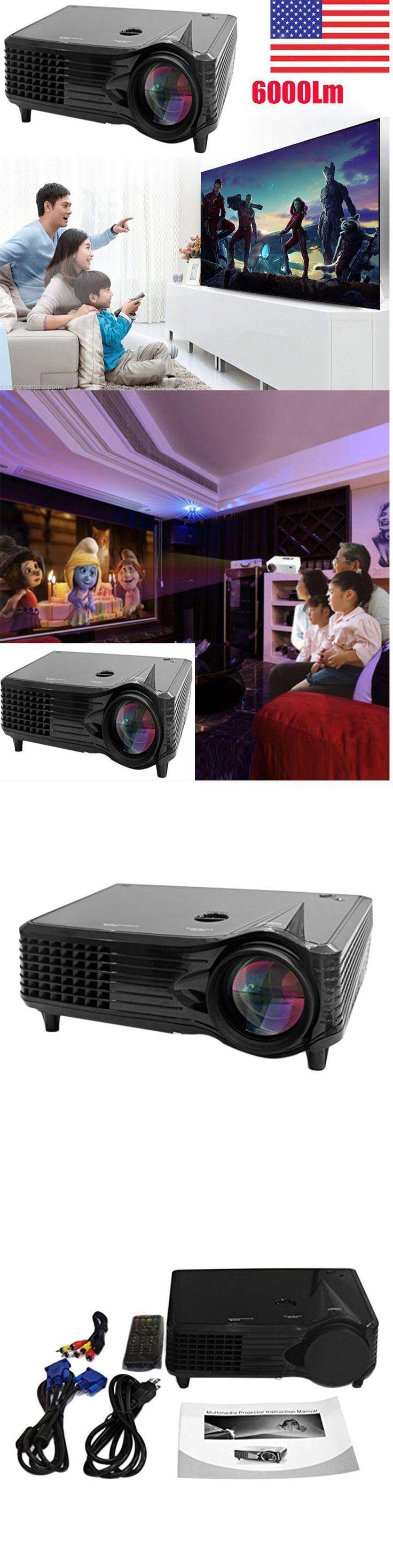 Home Theater Projectors: 6000 Lumens Full Hd 1080P Led Lcd 3D Vga Hdmi Tv Home Theater Projector Cinema B BUY IT NOW ONLY: $127.95 #hometheaterhacks #hometheaterprojectordiy