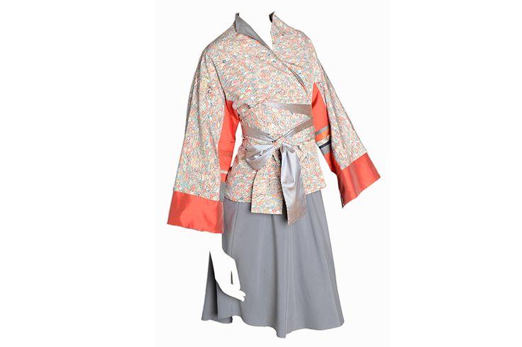 C.55 Silk Japanese kimono jacket with silk taffeta inserts. Pure silk lining (reversible). Silk and cashmere skirt.