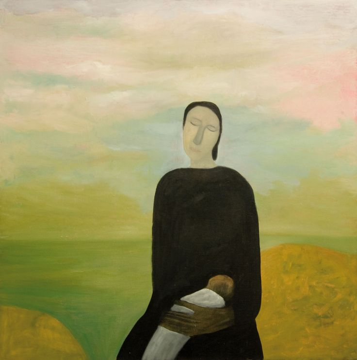 Star Gossage, Rangi Marie Peace Mother and Chil, Acrylic on board, 120 x 120 cm