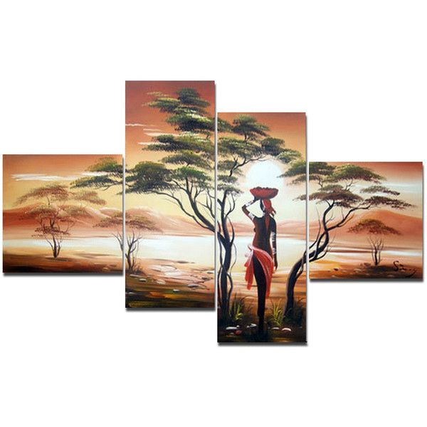 """""""Mother Nature"""" Large African Painting Woman - Transitional - Prints... ❤ liked on Polyvore featuring home, home decor, wall art and woman painting"""
