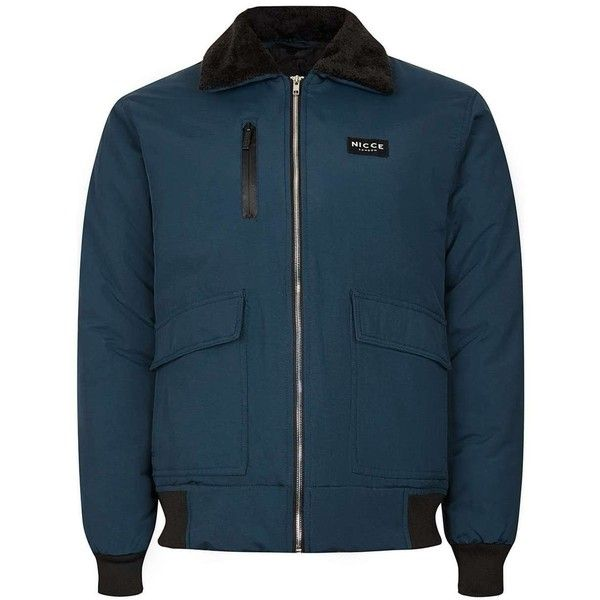 TOPMAN Nicce Navy Faux Shearling Collar Ma2 Bomber Jacket ($100) ❤ liked on Polyvore featuring men's fashion, men's clothing, men's outerwear, men's jackets, blue, mens navy blue bomber jacket, mens bomber jacket, men's navy bomber jacket, old navy mens jackets and mens blue bomber jacket