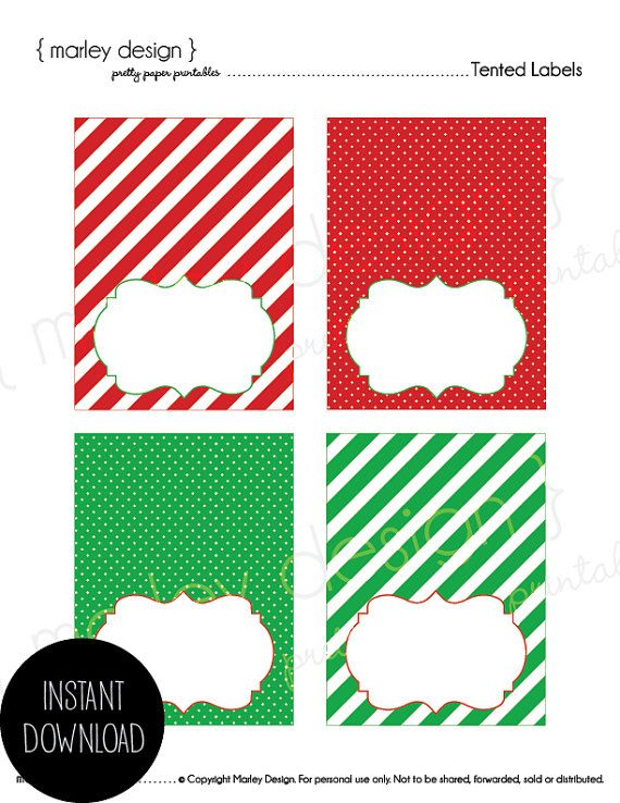 Christmas Tented Labels Printable Buffet Cards by MarleyDesign