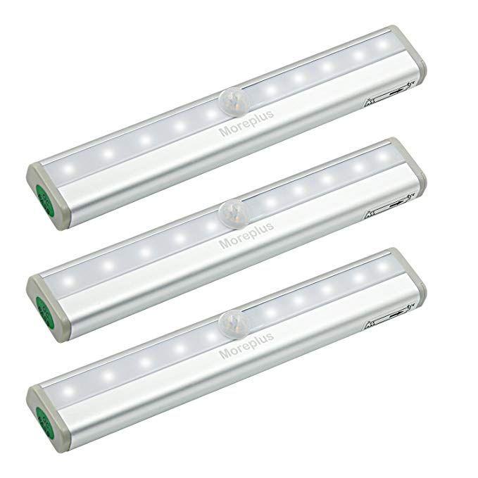 Moreplus Motion Sensor Lights 10 Led Battery Operated Portable Wireless Motion Nightlight Stick On With Magnet Motion Sensor Lights Bar Lighting Motion Sensor