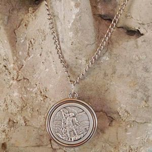 st Michael/st Christopher reversible medal necklace, st michael  pendant, st michael medal,  Miraculous medal necklace