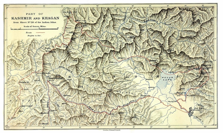 Map of Kashmir from 'Five months in the Himalaya a record of mountain travel in Garhwal and Kashmir' (1909) by A.L. Mumm.