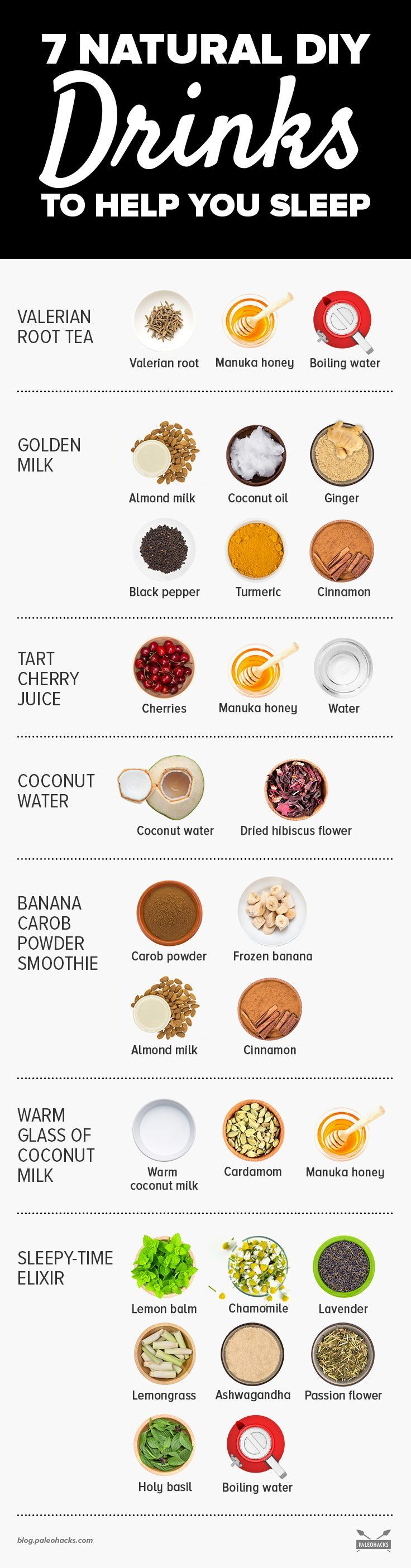 Trouble falling asleep? While you know the importance of sleeping,  it can be easier said than done. Here are natural DIY drinks to help  you achieve quality sleep to help you feel energized in the morning. Get the recipe here: http://paleo.co/sleepdrinksrcp