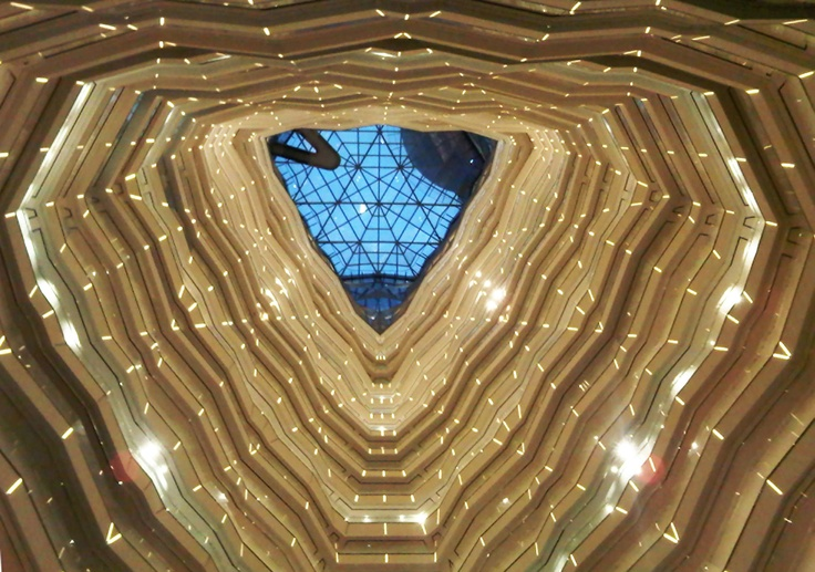 The atrium at @Four Seasons Hotel Guangzhou sparkles like a stairway of stars.