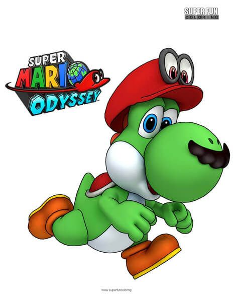 Yoshi Super Mario Odyssey Coloring Sheet