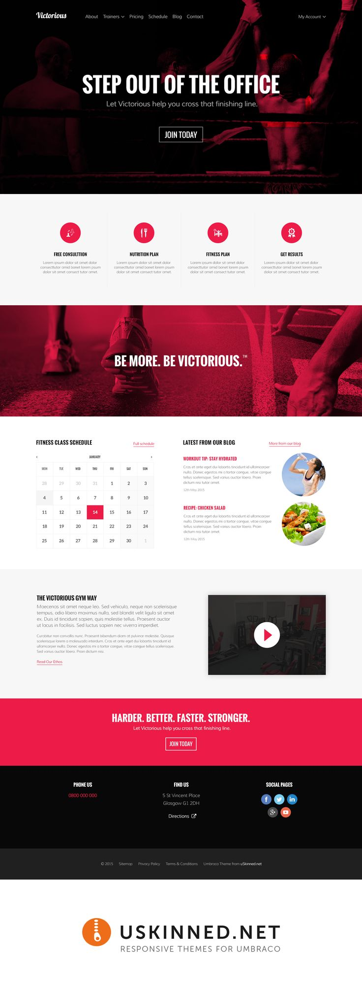 Victorious is a new theme powered by #Bootstrap coming soon to uSkinned - Themes for Umbraco. #umbraco #gym #workout #responsive #rwd #webdesign #design