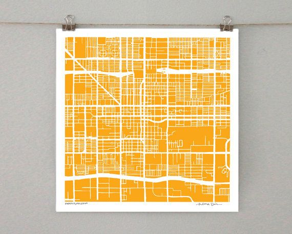 Phoenix Arizona Map Ink Drawing 8x8 or 12x12 City by SaltyLyon, $20.00