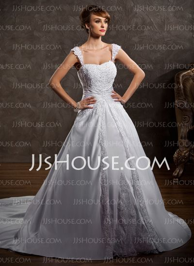 Wedding Dresses - $216.99 - Ball-Gown Sweetheart Chapel Train Satin Wedding Dress With Lace Beadwork (002011501) http://jjshouse.com/Ball-Gown-Sweetheart-Chapel-Train-Satin-Wedding-Dress-With-Lace-Beadwork-002011501-g11501