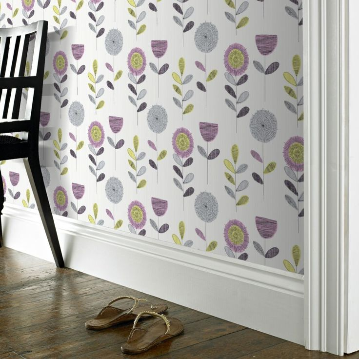 Fresco Sketch Floral Pink Wallpaper by Graham and Brown
