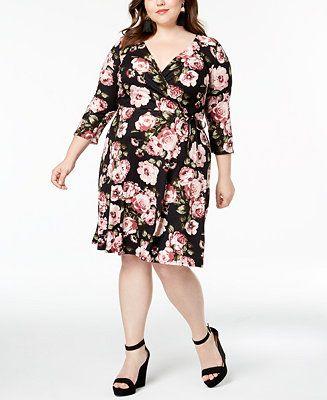 BCX Trendy Plus Size Printed Faux-Wrap Dress - Dresses - Plus Sizes ...