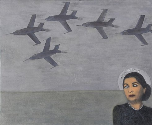 """Does anyone else see what's going through this woman's mind? I wonder if she's thinking about who's going to take charge after the revolution, what the chances are for equal standing for women under the new power structure and what it's going to mean for her daughters and grandaughter. Huda Lutfi - """"Democracy is Coming"""", 2008"""