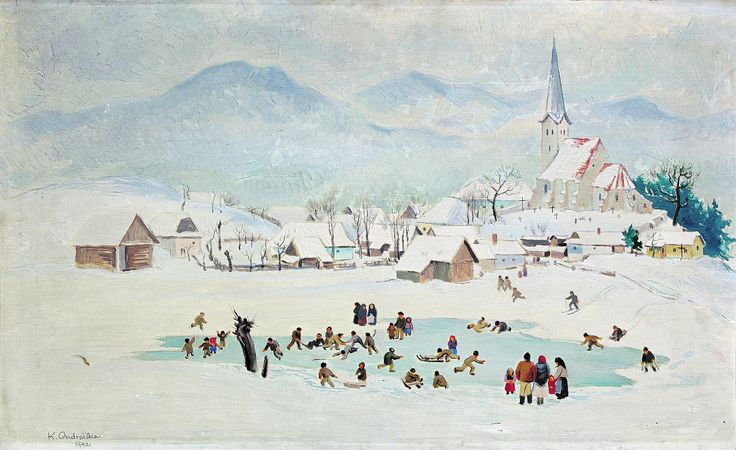 Christmas and winter time by famous Slovak artist - Karol Ondreicka - Winter pleasures (1942)  kultura.sme.sk
