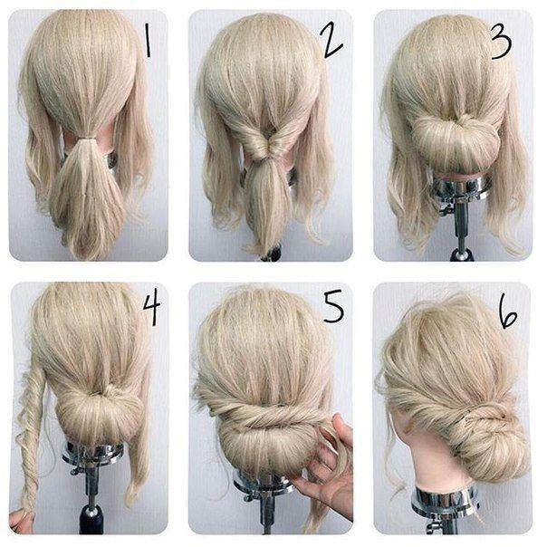 Lovely Cute Simple Hochsteckfrisur Fur Mittellanges Haar Neue Haare Modelle Hochsteckfrisuren Mittellanges Haar Frisur Hochgesteckt Diy Hochsteckfrisur